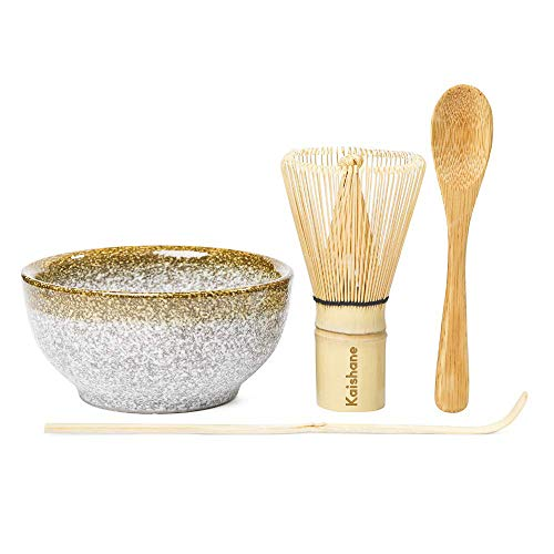 KAISHANE Japanese Matcha Whisk Set Matcha Tea Ceremony Set of 4 Including 100 Prong Matcha Whisk (Chasen), Traditional Scoop (Chashaku), Tea Spoon and Ceramic Matcha Bowl