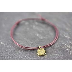 Lotus Blüte Circle bordeaux rot Armband vegan Geschenk...