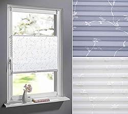 DECOLIA Klemmfix-Plissee verspannt, ohne Bohren oder Schrauben mit floralem Druckdesign, Breite/Höhe: 90 x 210 cm, Farbe: grau