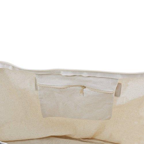 ElegantPark Birde Naturale Tela 100% Cotone Cerniera Lampo Tote donne della spalla Mid borsa Sposa Bride