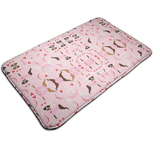 Kostüm Cupids - LIS HOME Boxer Love Bug Cupid Kostüm Hunderasse Stoff Pink rutschfeste Badteppichmatte Duschmatte Maschinenwaschbare Badematten mit wasserabsorbierenden weichen Mikrofasern