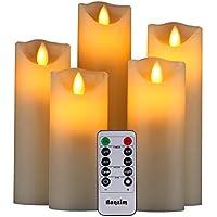 LED Kerzen,Flammenlose Kerzen 250 Stunden Dekorations-Kerzen-Säulen im 5er Set.Realistisch flackernde LED-Flammen 10-Tasten Fernbedienung mit 24 Stunden Timer-Funktion (5 * 1, Ivory)
