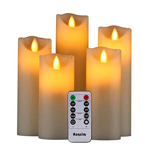 fernbedienung fuer led kerzen LED Kerzen,Flammenlose Kerzen 250 Stunden Dekorations-Kerzen-Säulen im 5er Set.Realistisch flackernde LED-Flammen 10-Tasten Fernbedienung mit 24 Stunden Timer-Funktion (5 * 1, Ivory)