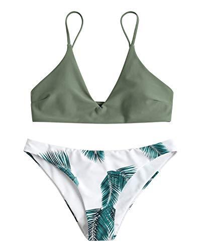 ZAFUL Damen Gepolsterter Bikini Set Bademode Badeanzug mit Blatt Pattern ZweiteiligSmallGrün-2 -