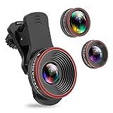 Handy Objektiv Kamera Linse Kit, 3 in 1 Lens Set 0,62X Weitwinkel + 25X Makro + 235° Fisheye Objektiv mit Universal Clip-On für für IOS und Android Smartphone