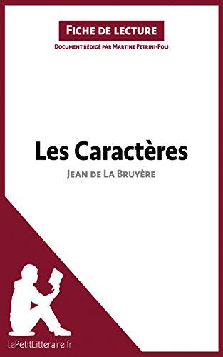 Les Caractères de Jean de La Bruyère Fiche de lecture
