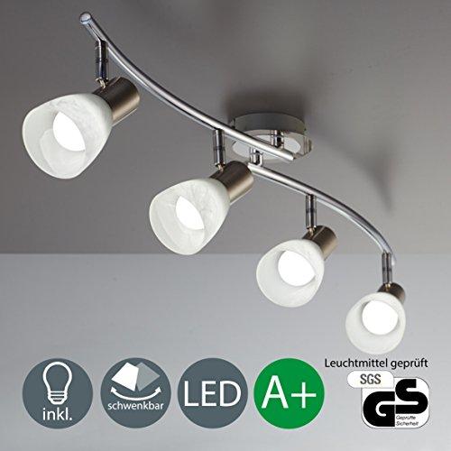 Glas-deckenleuchte Decken (LED Decken-Strahler I 4 flammig I Schlafzimmer-Leuchte I drehbar I schwenkbar I inkl. 4 x 5,5 W LED Leuchtmittel l Decken-Lampe I Spot Wohnzimmerlampe I Decken-Leuchte I matt-nickel I Chrom I 230 V I E14 I IP20)