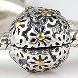 Daisy Locking Clip - Sterling Silver Charm Bead - fits Pandora, Chamilia etc style Bracelets - SpangleBead