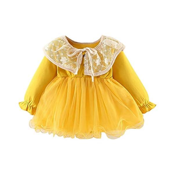 Heetey - Conjunto de Ropa y Abrigo para niña, para bebé, niño, niña, Encaje, Patchwork, Monocromo, Informal, Vestido de… 1