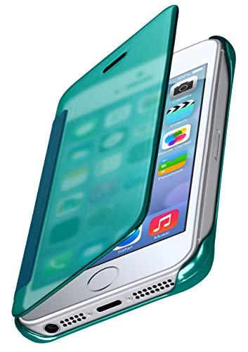 moex Dünne 360° Handyhülle passend für iPhone 5S / 5 / iPhone SE   Transparent bei eingeschaltetem Display - in Hochglanz Klavierlack Optik, Türkis