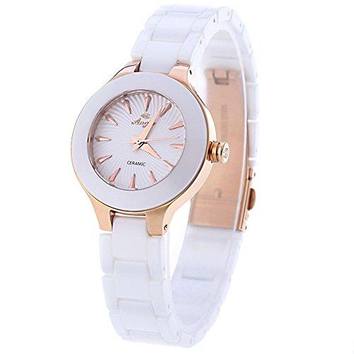 leopard shop angie st7175l ladies quartz wrist watch macaroon series ceramic band #1