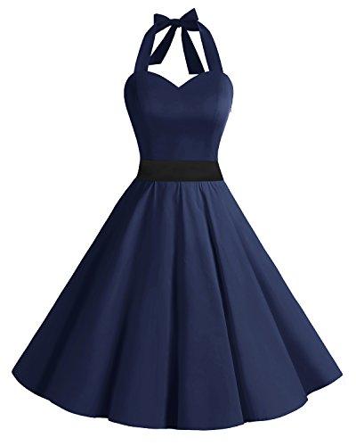 bridesmay 1950er Retro Rockabilly Neckholder Cocktail Abendkleid Petticoat Faltenrock Navy S