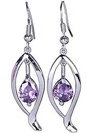 Smile YKK Cristal Violet Boucles d'oreille Plaqué Argent 925 Egalement Oxyde de Zirconium