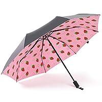 LYJZH Compact Umbrella Windproof Travel Folding Umbrellas, Portable Lightweight Umbrella Creative three fold fruit pattern umbrella colour 96cm
