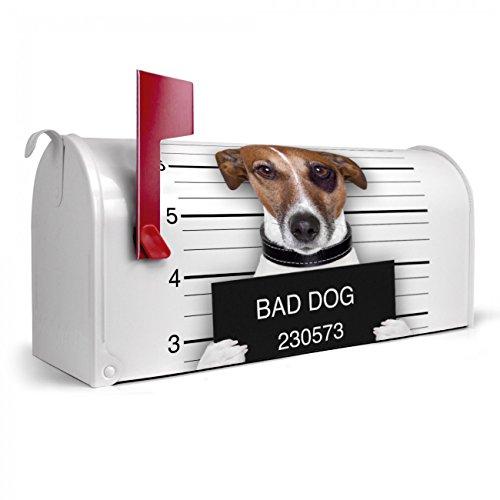 BANJADO US Mailbox | Amerikanischer Briefkasten 51x22x17cm | Letterbox Stahl weiß | mit Motiv Bad Dog Jack Russel, Briefkasten:ohne Standfuß - Motiv Bad Hardware