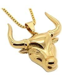 BOBIJOO Jewelry - Pendentif Collier Tête Taureau Gardians de Camargue Vache  Acier Plaqué Or+Chaîne fae3c06ed54
