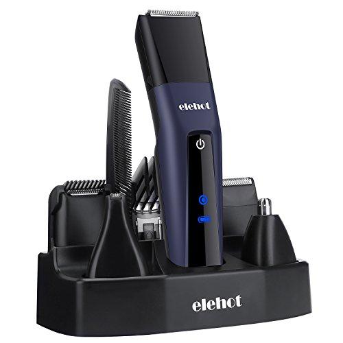 5 in 1 Rasierer Bartschneider Haarschneider Set Herren Trimmer Körper Akku Männer von ELEHOT (blau)