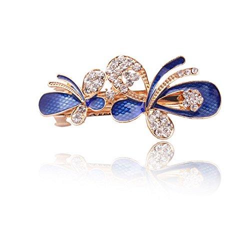 Five Season 1PC Barrettes a Cheveux Clips Bijoux Crystal Diamante Forme Papillon pour Femme 8,2*3,7cm Bleu