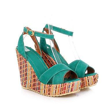 LvYuan Da donna-Sandali-Ufficio e lavoro Formale Serata e festa-Club Shoes-Zeppa-Finta pelle-Blu Giallo Verde Arancione Tessuto almond almond