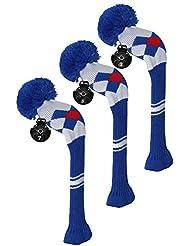 Scott Edward maderas de calle golf club cabeza Covers, Argyle patrón, hilo acrílico double-layers de punto, 3 piezas paquete, giratorio con número etiquetas, 4 colores opcionales, azul