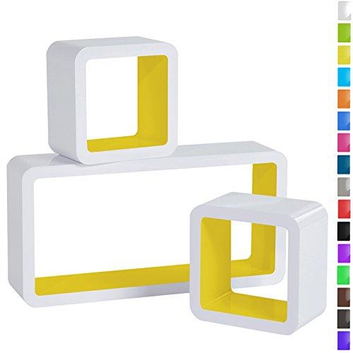 WOLTU RG9229gb Wandregal Cube Regal 3er Set Bücherregal Regalsysteme, Retro Hängeregal Würfel, weiß-gelb