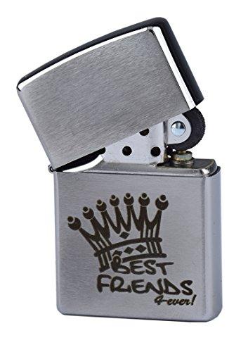 """Zippo mit Gravur """"Best Friends 4 ever"""" - Beste Freunde für immer - auf Chrome brushed Benzinfeuerzeug als Geschenk"""