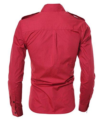 Ghope Shirt hommes 2016 la mode du commerce extérieur badges hommes de conception à double poche chemise de sport cultiver casual manches longues Rouge