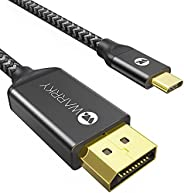 USB C to DisplayPort Cable (4K 60Hz, 2K 144Hz / 165Hz), WARRKY [Gold-Plated Anti-Interference] Cord Thunderbol