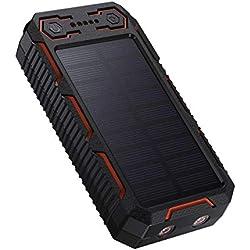 POWERADD 26800mah Apollo Plus Powerbank Solare Caricabatteria Portatile Batteria Esterna Adatta per iPhone, iPad, Smartphone e Tablet,con 2 Luci LED, Doppia Uscita USB e Accendisigari Integrato
