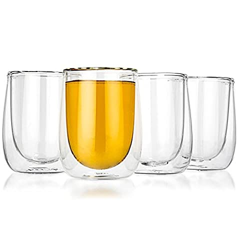 Tealyra - AURA 230ml - Set of 4 - Verres à Thé & Café - Double Wall Clear Glass Mug - Perfect Clear Cup - Tea - Coffee - Cappuccino - Heatproof Insulating - Keeps Beverages Hot - 8-ounce