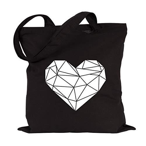 JUNIWORDS Jutebeutel - Wähle ein Motiv & Farbe - 'Origami Herz' (Beutel: Schwarz, Motiv: Weiß)