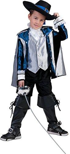 Karneval-Klamotten Musketier-Kostüm Kinder Jungen D'Artagnan blau-schwarz-Silber Karneval Fasching Kinderkostüm Größe 164