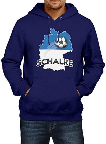 Schalke #2 Premium Hoodie | Fussball | Fan-Trikot | Die Macht in Deutschland | Herren | Kapuzenpullover, Farbe:Dunkelblau;Größe:5XL (Spieltag Shirt)