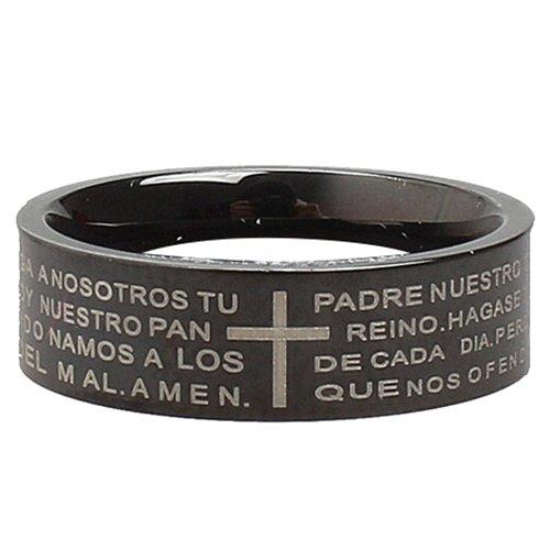 Herren Kruzifix Ring - TOOGOO(R) Edelstahl Ring Band Silber Schwarz Bibel Herr Gebet Kruzifix Kreuz Retro Polished Groesse 60mm (19.1mm) Herren
