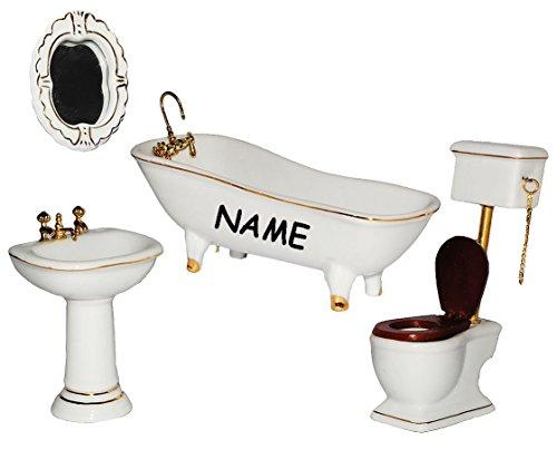 Preisvergleich Produktbild Set: Badezimmer - incl. Name - aus Porzellan / Keramik - für Puppenstube Miniatur / Maßstab 1:12 - Bad / Badewanne Waschbecken Toilette Wandspiegel - Puppenbadezimmer - Puppenhaus Puppenhausmöbel - Diorama