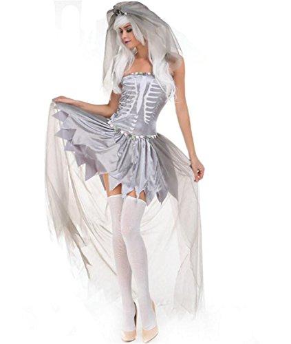 SHUNLIU Halloween Kostüm Damen Halloweenkostüm Halloween-Party Cosplay Weiß Hölle Skelett Geist Braut Horror (Geist Halloween Kostüm Jägerin)