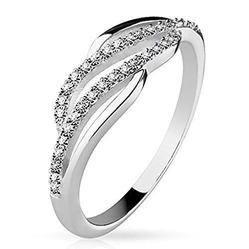 Tapsi´s Coolbodyart®| Damen Ring 925 Silber Zirkonia Zwei Reihen Geschwungen Größe 47(15)