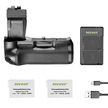 Neewer Batteriegriff für Canon EOS 550D 600D 650D 700D Rebel T2i T3i T4i T5i mit Lithium-Batterien Ersatz für LP-E8 / USB-Ladegerät