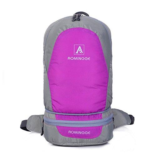 Outdoor Faltbar Schulter Tasche Multifunktionales Tragbarer Rucksack Leichte Purple