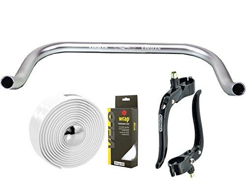 Permanent-Fahrrad Bullhorn Fixie Singlespeed Rennrad Triathlon Lenker Silber 400mm mit passenden Bremshebel und Weiße Lenkerband -