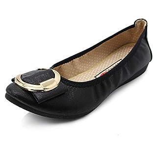JIASUQI Womens Sandals Slip On Flats Shoes Breathable Ballet Walking Flats Black, 4 UK