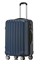 BEIBYE TSA-Schloß 2080 Hangepäck Zwillingsrollen neu Reisekoffer Koffer Trolley Hartschale Set-XL-L-M(Boardcase) in 12 Farben (Dunkelblau, L-Mittlerer Koffer(65 cm))