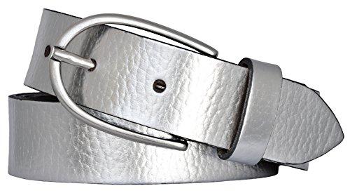 VANZETTI by BGM Damen Ledergürtel Made in Germany, Silberfarben, 90