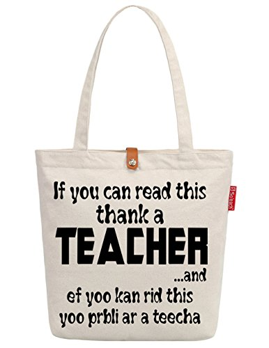 So'each Women's Thank A Teacher Letters Graphic Top Handle Canvas Tote Shopping Bag