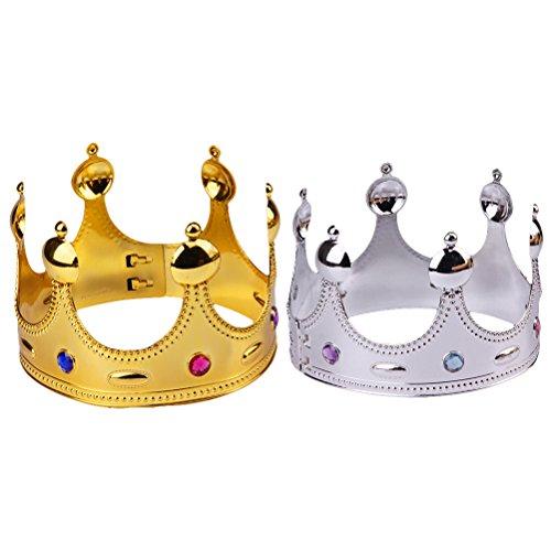 Crown Prince Crown Tiara Partei Hüte Kinder Party Favors Supplies Halloween Cosplay Kostüm Zubehör 2 STÜCKE (König) (Königlicher Prinz Kostüm Jungen)