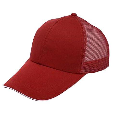 Fablcrew Casquette hip-hop en Demi Maille réglable, pour Sports et protection du Soleil, Unisexe, blanche 56-60cm rouge foncé