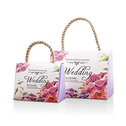 Lvcky, set da 30 scatole per confetti, motivo floreale, per bomboniere da matrimonio, con manico, in carta, decorative violet(violet )