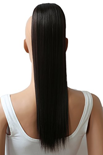 PRETTYSHOP Postiche queue de cheval d'extension de cheveux queue de cheval chaleur lisse résistant 50cm brun foncé # 2 H146