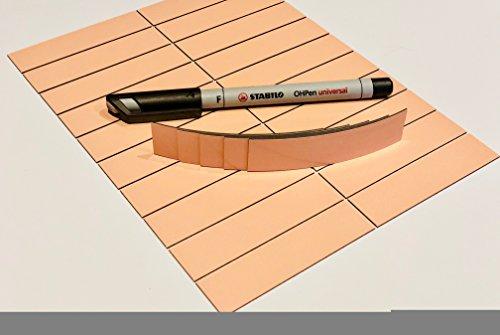 25 strisce magnetiche scrivibili, in 6 colori chiari, 80 x 20 mm, inclusa  penna Stabilo, cancellabili, riutilizzabili. orange