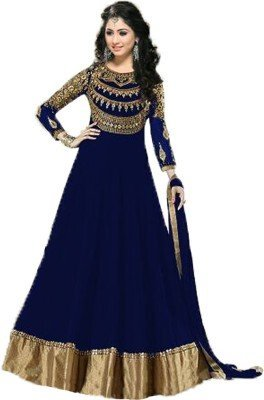 Rv Fashion Women'S Georgette Neck Embroidered Long Anarkali Suit_Blue